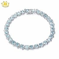 15 12Ct Natural Aquamarine Bracelet Solid 925 Sterling Silver S Tennis Bracelets For Women Luxury Fine
