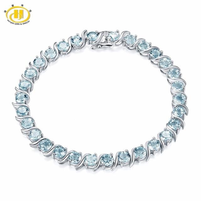 Hutang 15 12ct Natural Gemstone Aquamarine Bracelet Solid 925 Sterling Silver S Tennis Bracelets For Women Luxury Fine Jewelry