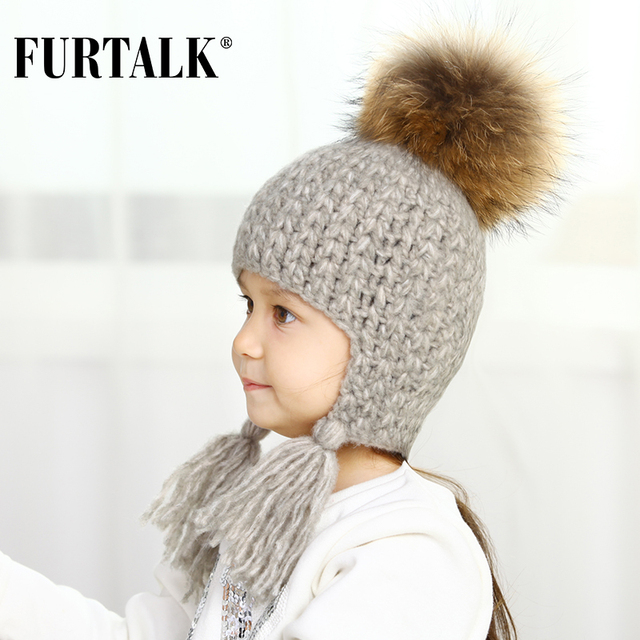 847d55eb7a2 FURTALK children winter wool earflap hat for girls and boys real fur pom pom  baby hats for kids B023