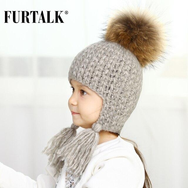 FURTALK зимняя детская шапка ушанка для девочки и мальчика с натуральным  меховым помпоном головные уборы B023 e4a74511b6bb2