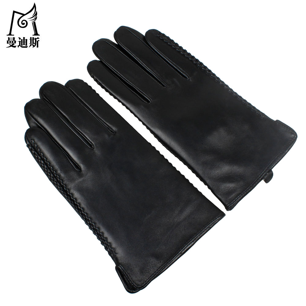 Mens gloves with touch screen - 2016 New Men Gloves Winter Men Male Warm Thick Genuine Leather Gloves High Quality Sheepskin Leather Touch Screen Gloves Mitten