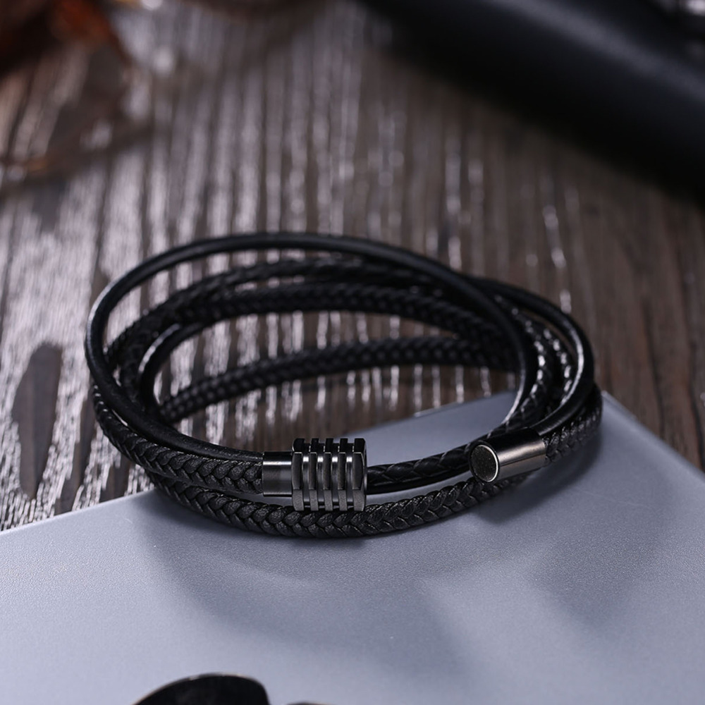 Stainless Steel Men Leather Bracelets & Bangles Braided Rope 20cm Men Jewelry Best Gift For Him BA102434