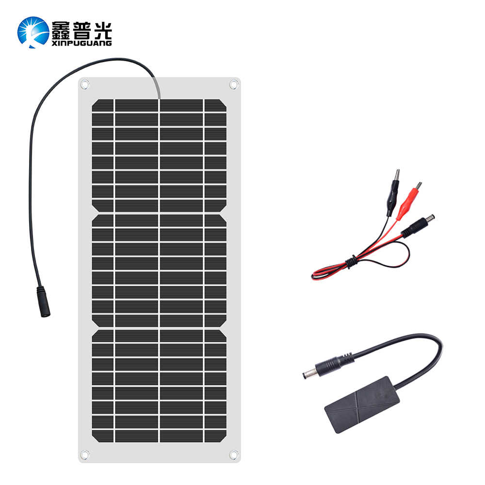 XINPUGUANG 12V 15W flexible solar panel cell Charger 5V 1A USB Output Devices Portable Solar Panels + DC Crocodile clip Solpanel