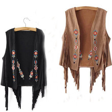 2016 Women Basic Coats Boho Chamois Embroidered Floral Tassel Short Chic Sleeveless Cardigan Outwear leather leather jacket