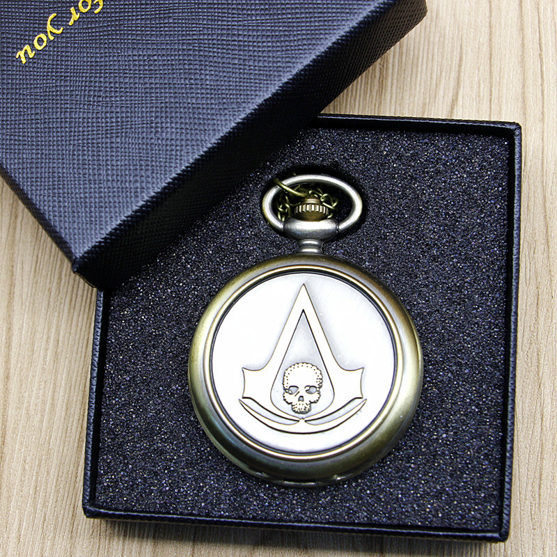 Vintage Assassin's Creed Sci-Fi Skull Movie Quartz Pocket Watch Analog Pendant Necklace Mens Womens Chain Gift #120812 cindiry new bronze assassin s creed sci fi movie quartz pocket watch analog pendant necklace mens womens watches chain gift p19