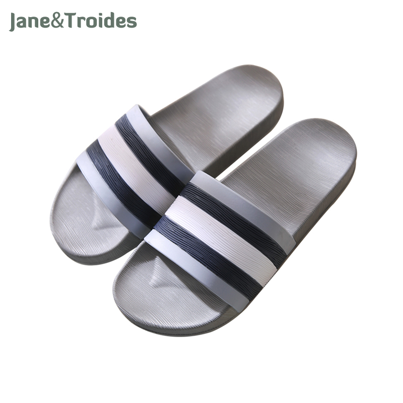 Jane Troides Summer Non slip Men Slippers Indoor Outdoor Soft Comfortable Flip Flops Striped Casual Sandals
