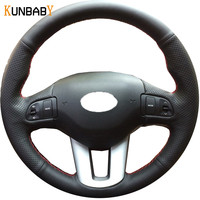 KUNBABY Black Genuine Leather Car Steering Wheel Cover Case for Kia Sportage Sportage 3 2011 2014 Kia Ceed 2010 Car Accessories