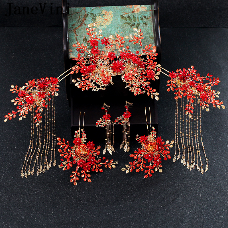 JaneVini Luxury Chinese Style Wedding Hair Accessories Gold Long Tassels Princess Crown Red Hairpins Bridal Jewelry AccessoriesJaneVini Luxury Chinese Style Wedding Hair Accessories Gold Long Tassels Princess Crown Red Hairpins Bridal Jewelry Accessories