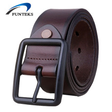 FUNTEKS 2017 Vintage Cowhide Genuine Leather Belts for Men Casual Jeans Strap Male Pin Buckle Belt Men's Cow Leather Waistband