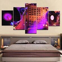 цена 5Panel HD Printed DJ Night Club Of Mural Bar wall posters Print On Canvas Art Painting For home living room decoration онлайн в 2017 году
