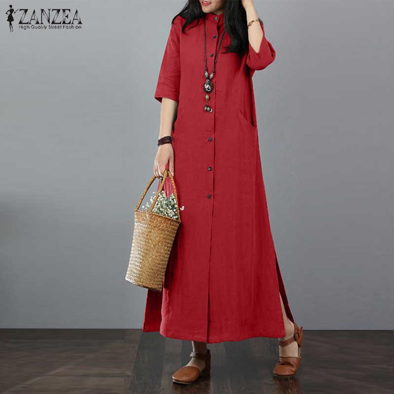 24f84d4b ZANZEA Vintage Women Autumn Stand Collar Solid Cotton Linen Long Dress  Female Robe Kaftan Vestido Casual
