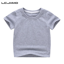 LCJMMO Cotton Boys T-shirts 2018 New Summer Style Solid Short Sleeve Kids T Shirts For Girls Tops Tees Children Clothing 2-8Y