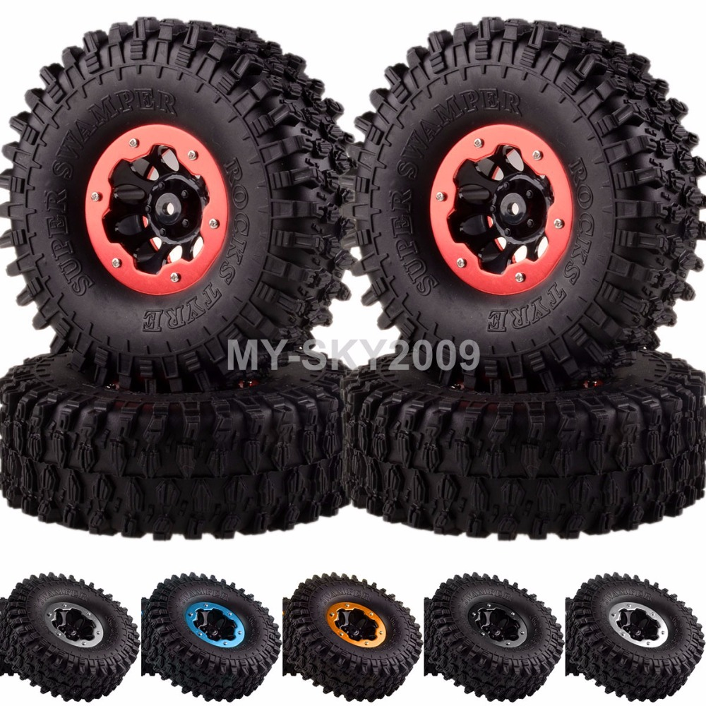 4pcs Rock Crawler Beadlock Wheel Rims & Super Swamper Rocks Tyre / Tires 4037-7037 Fits 1/10th RC Car CC01 D90 SCX10 HSP Redcat mxfans rc 1 10 2 2 crawler car inflatable tires black alloy beadlock pack of 4