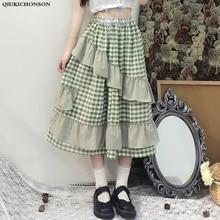 Qiukichonson Lolita High Waist Skirt Women 2019 Japanese Fashion Vintage Summer Plaid Long Cute ruffle skirts saia