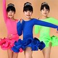 Девушки Дети С Длинными Рукавами Танец Носить Стандартный Латинской Конкурс Платье Дети Чача Румба Танго Сальса Бальные Танцы Chothing