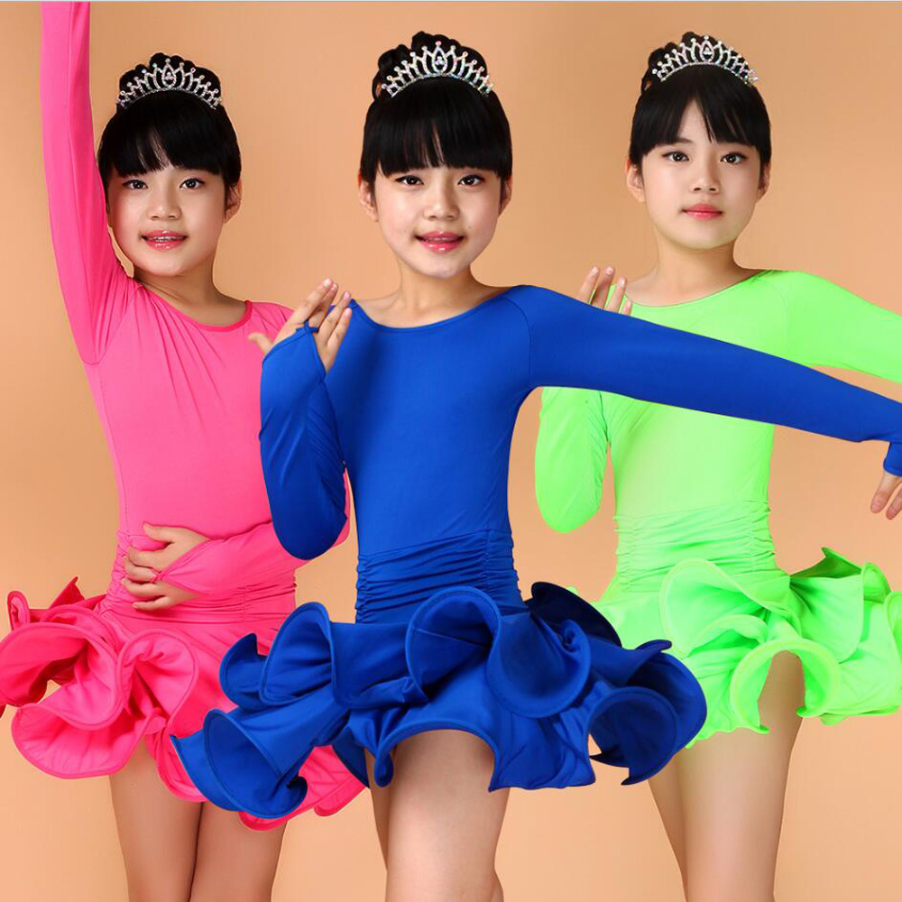 Girl Kids Long Sleeves Dance Wear Standard Latin Competition Dress Children ChaCha Rumba Tango Salsa Ballroom Dancing Chothing