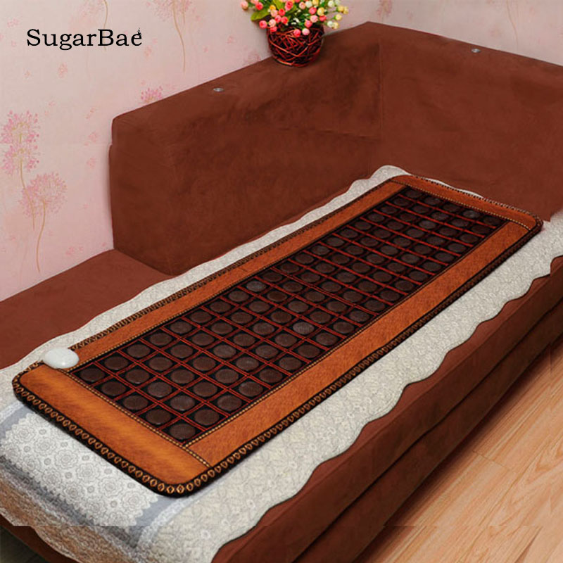 Relax Heated Tourmaline/Germanium Stone Massage Mat Korea Jade Mattress Heating Massager Health Tourmaline Mattress pop relax korea jade massage bed electric heating jade stone spine relax massager health care full body rolling massage bed