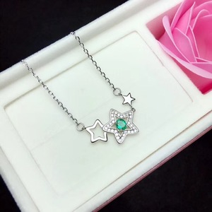 Image 4 - Natural emerald necklace, from the stars, 925 silver, especially beautiful, the price is suitable