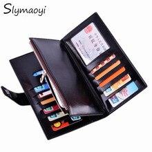 Slymaoyi Frauenmappen Berühmte Marke Lange Brieftasche mit Flip Up ID fenster Koreanischen Walet Geldbeutel Männlichen Geldbörsen mit Reißverschluss Münztüte