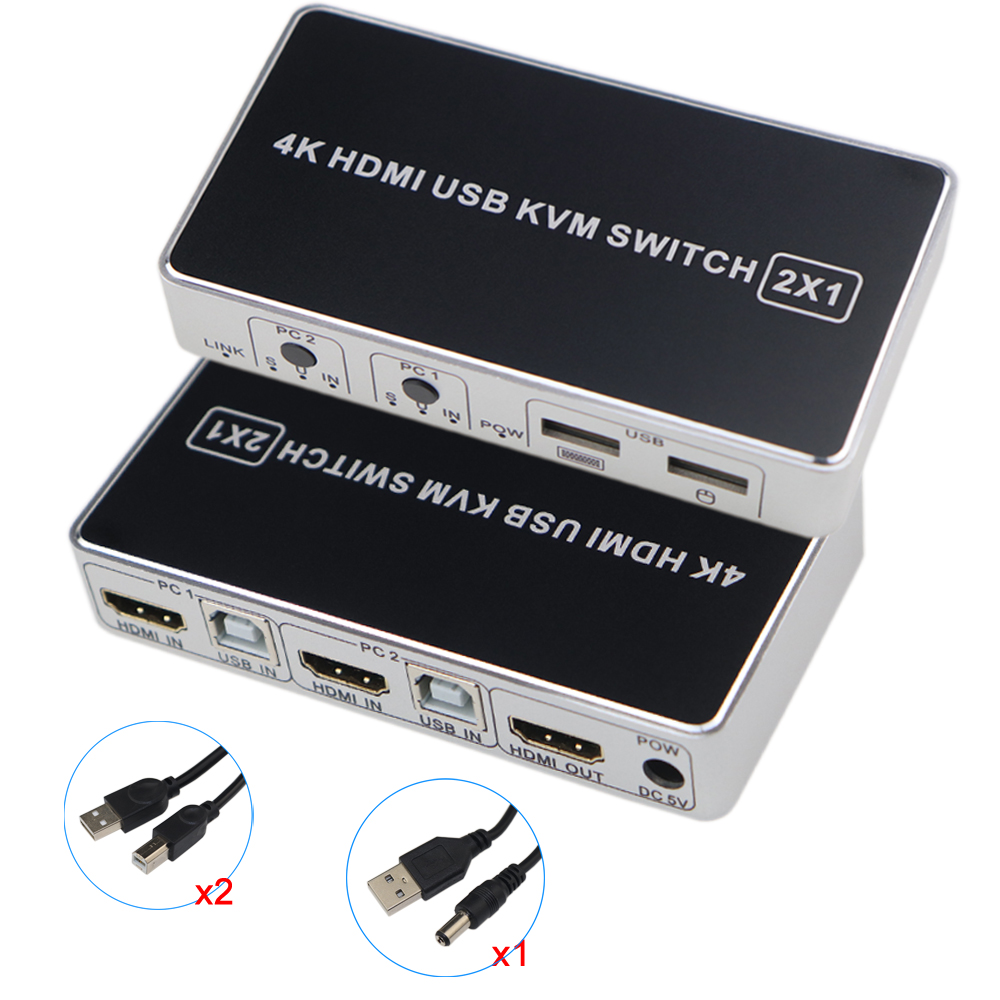 HDMI KVM Switch USB 2 Port PC Computer KVM Switch Keyboard Mouse Switcher Box Support 4K@30Hz 3D For Laptop PS4 Xbox HDTV