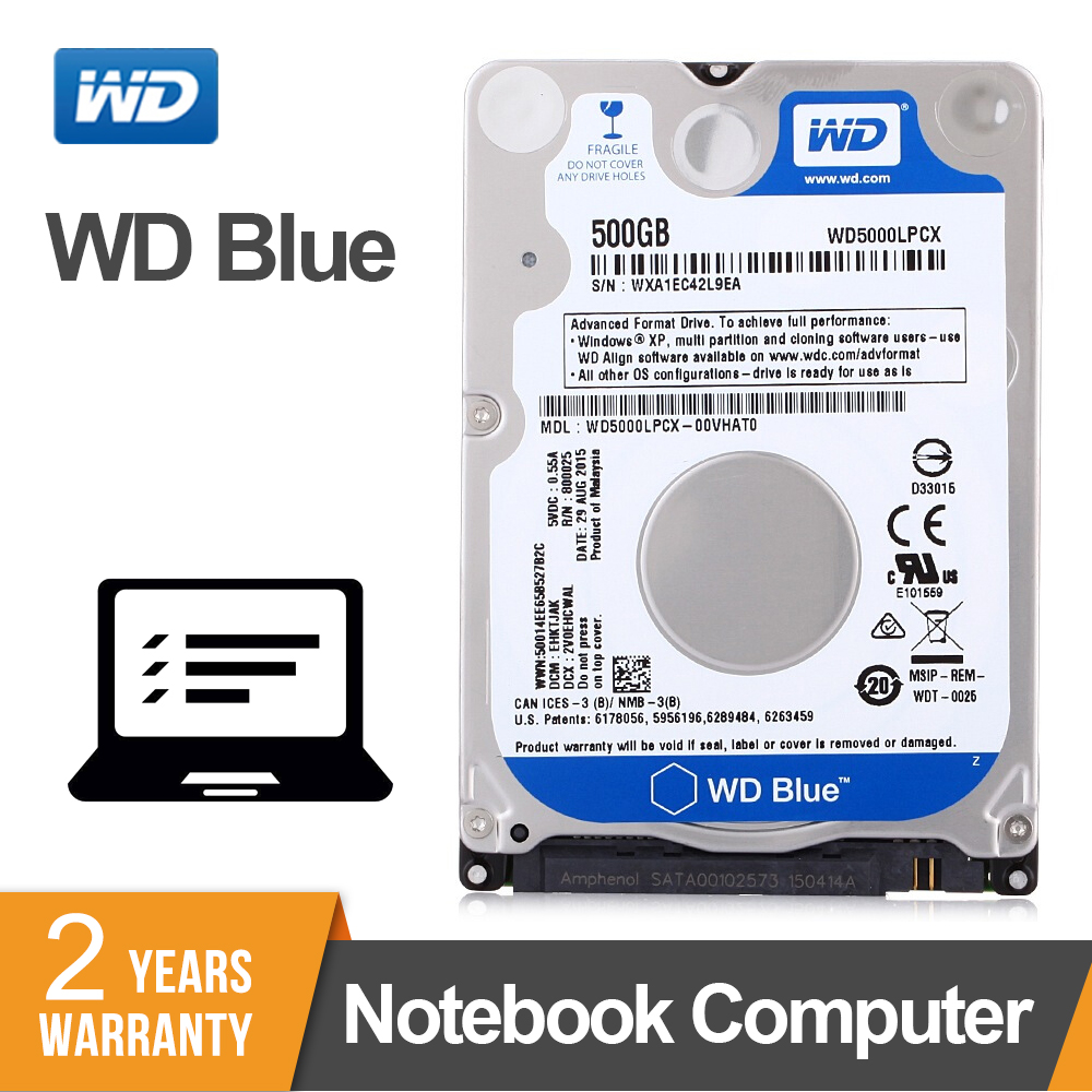 WD Western Digital bleu 500 GB hdd 2.5 ''5400 tr/min SATA ordinateur portable interne Sabit disque dur HD Notebook disque dur WD5000LPCX