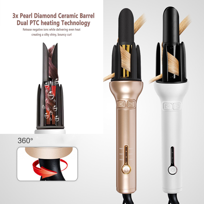 Professional Hair Curler Automatic Curling Wand Instant Heat Curling Iron Hair Waver Curling Wand 360 Rotating Wand
