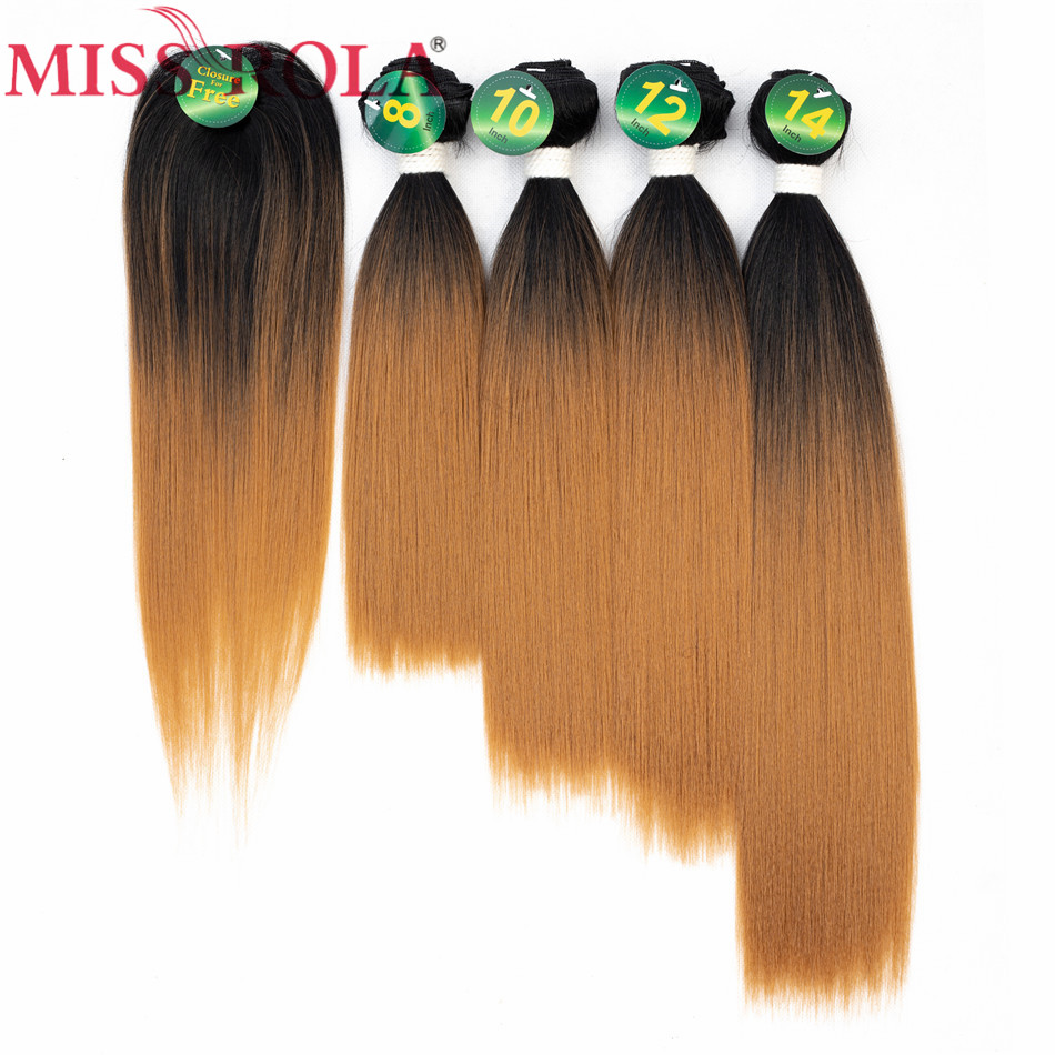 Miss Rola Synthetic straight Hair weft Ombre Colored Hair Weaving Bundles 8-14inch 5pcs/ ...