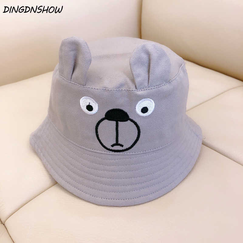 DINGDNSHOW  2019 Fashion Bucket Hats Cartoon Lovely Panama Hat Cotton  Embroibery Kids Cap for 68d86a8db8c5