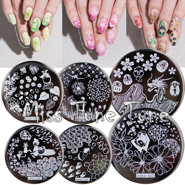 12pcs Set New Nail Stamping Plates Template Anese Animation Flower Garden Pattern Image Small Size