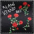 90x90 Mulheres Lenço Quadrado Rosa Floral Impressão Foulard Bandana de Seda Elegante Lenço de Cabeça de Luz Brand New [1729]