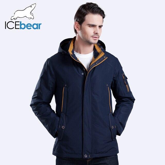 ICEbear 2016 3 Цвет Большой размер полиэстер Тонкий куртки новых людей вскользь Весна Открытый теплое пальто с капюшоном  карман на молнии 17MC853
