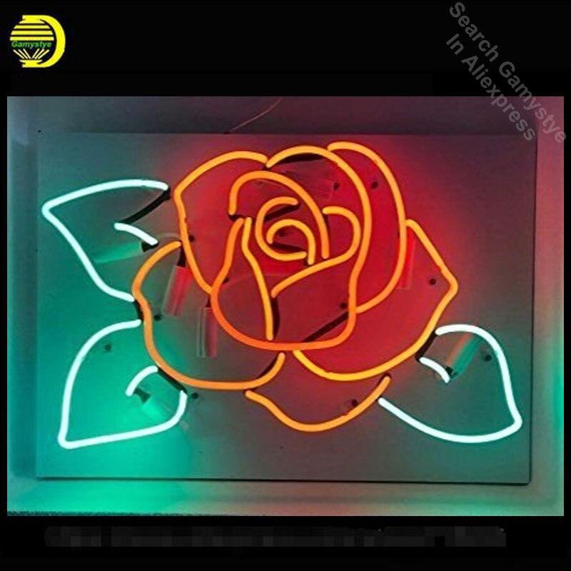 Enseigne au néon Rose Tubes en verre véritable enseigne au néon Bar à bière signe de Pub Excellent artisanat Unique néon personnalisé lumières tableau blanc
