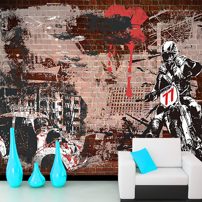 цены  Free Shipping 3D retro motorcycle wallpaper leisure bar KTV Cafe Restaurant TV sofa background armor Rider brick wallpaper mural