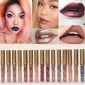 2016 Fashion Color Pigment Nude Velvet Gold Metallic Lipstick Matte Liquid Waterproof Lip Gloss Tattoo Tint Cosmetics