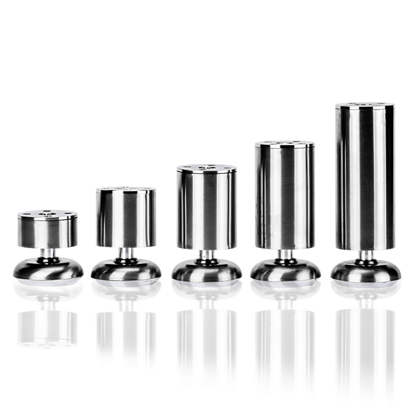 4pcs Stainless Steel Cabinet Furniture Leg Screw Round Sofa Metal Table Legs Adjustable Height For Furniture Foot Bed Riser