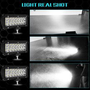 Image 5 - 7 zoll 72W Drei Reihen Led Licht Bar Led Tagfahrlicht Auto Styling Auto Arbeit Licht Flut lichtstrahl traktor Lkw Offroad