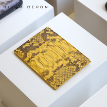 Hiram Beron Leather Card Holder Unisex Python & Lamb Skin Credit Card Wallet Short Thin Men & Women ID Holder Custom Card Case