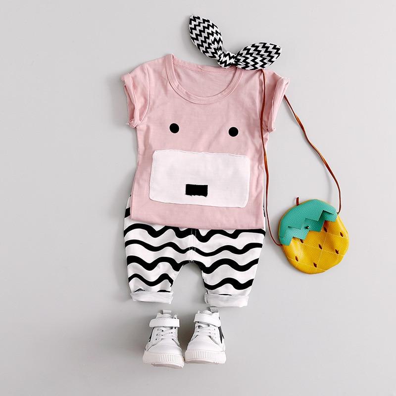 2017 outono do bebê da menina do menino roupas de manga Longa Top + calça 2 pcs terno esporte roupa do bebê set bebê recém-nascido roupas