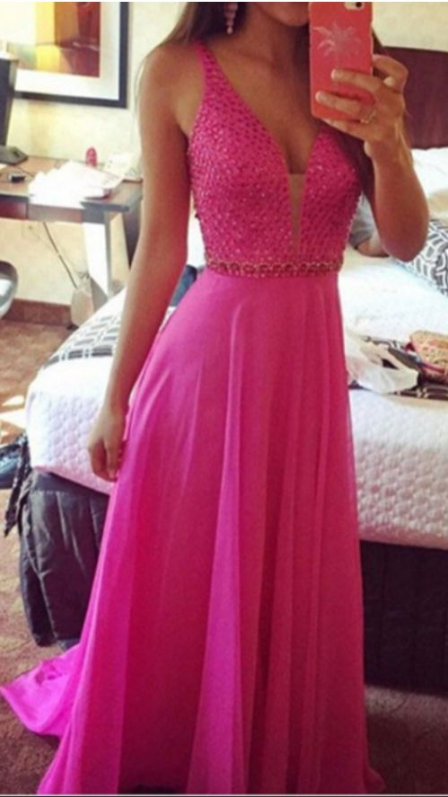 vestidos de gala New Elgeant Fuchsia   Prom     Dress   Long V-neck Beaded Belt Sleeveless Chiffon Cheap   Dresses   For Evening Party
