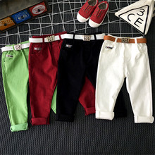 Children's clothing boy pants spring and autumn tide 2018 casual pants girls trousers white black red green candy pants