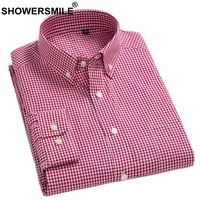 SHOWERSMILE Red Checkered Shirt Men Pure Cotton Plaid Shirts Male British Smart Casual Long Sleeve Blouse Office Slim Fit Shirt