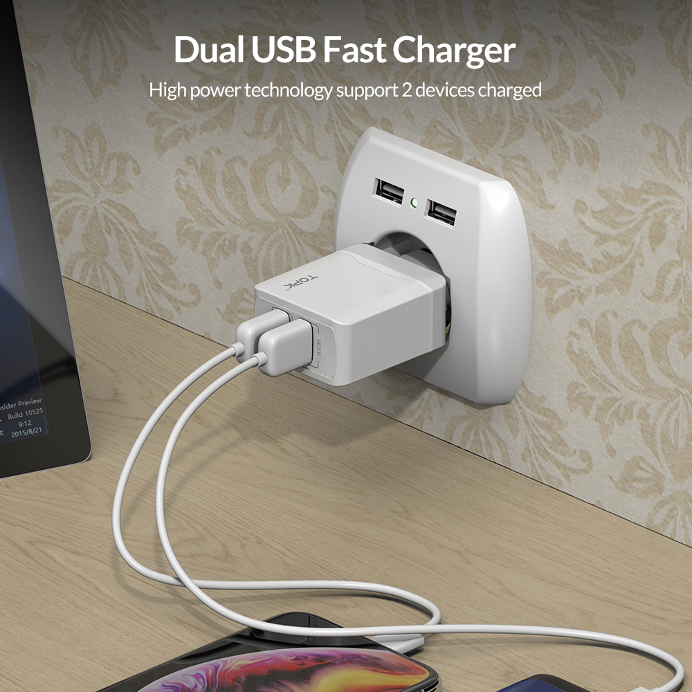Image 2 - TOPK B244 Quick Charge 3.0 18W USB Charger for iPhone Xs X 8 7 Fast Phone Charger for Samsung Xiaomi Huawei Wall Charger EU-in Mobile Phone Chargers from Cellphones & Telecommunications