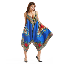 Dashikiage Loose Big Oversize Blue Women Fashion Traditional Cotton Ladies strapped Culottes Dress 2019