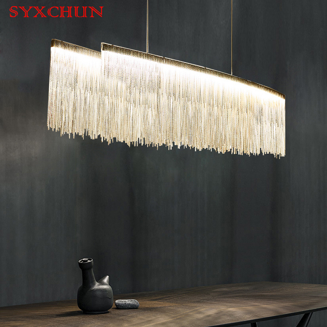 Post Modern Art Restaurant Chandeliers Nordic Chain Atmospheric Living Room Personality Board Lights Led