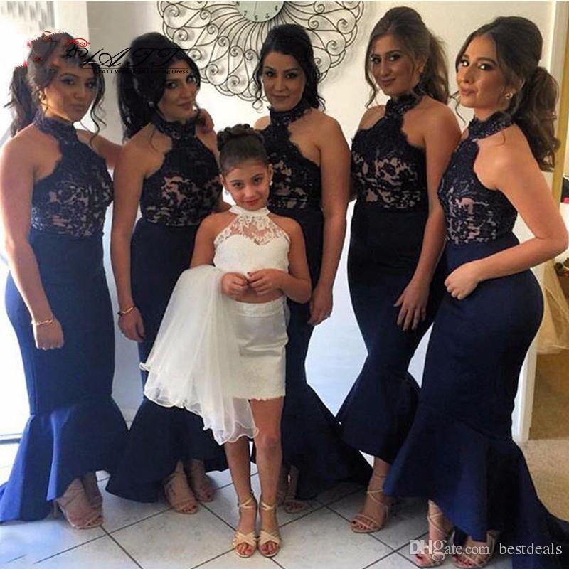 Navy Blue Bridesmaid Dresses Flowers Promotion-Shop for ...