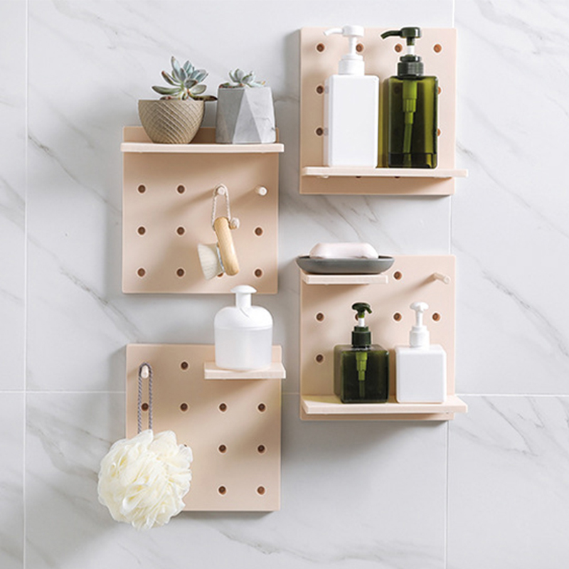 JULY\'S SONG Wall Mounted Storage Rack Adhesive Bathroom Kitchen Hanging  Organizer Shelf Cosmetic Sundries Wall Holders Household
