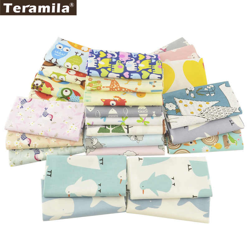 Teramila Cotton Fabric 25 Designs Animial Cartoon Patchwork Quilting Charm Packs Meter Home Textile Clothing Bedding