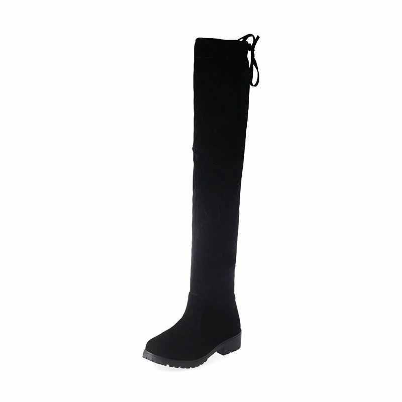 AGUTZM 2019 Yeni Varış Klasik Kare Topuk Çizmeler Kadın Kış Çizmeler Siyah Diz Yüksek Çizmeler Gizli Topuk Streç Kumaş Botları