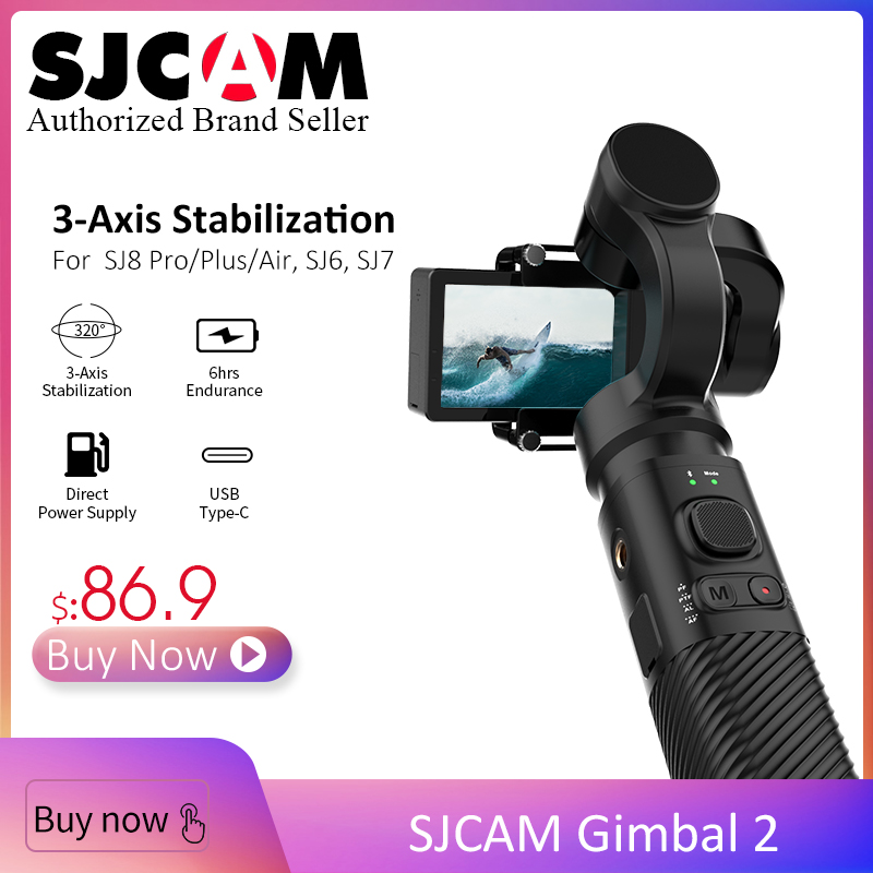 Nouveau SJCAM cardan à main 3 axes stabilisateur Bluetooth contrôle Type C sj-cardan 2 pour SJ6/SJ7/SJ8 Pro/Plus/caméra d'action à Air