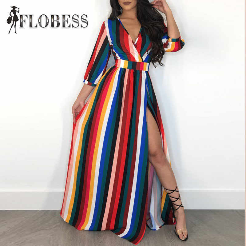 5eebc715f9c ... 2018 Autumn Women Fashion Rainbow Striped Print Maxi Dress Sexy V Neck  High Slit Club Long ...